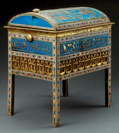 Tuyu's Box With Vaulted Lid Decorated with ivory, ebony, blue faience, and gilding, this wooden chest was found in the tomb of Yuya and Tuyu,  great-grandparents of King Tutankhamun.