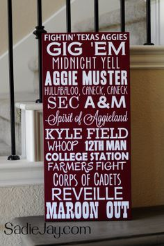 11in. by 24in. Texas A&M wood sign