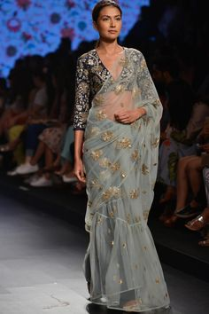 Navy silk choli with embroidered tulle sari