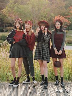 autumn fashion korean fashion kore moda stilleri, a Korean Fashion Trends, Korean Street Fashion, Korea Fashion, Kpop Fashion, Cute Fashion, Asian Fashion, Girl Fashion, Fashion Outfits, Fashion Ideas