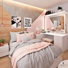 Pink, white and grey girls bedroom; pastel bedroom decor ins Pastel Bedroom, Gray Bedroom, Bedroom Girls, Grey Bedding, Bedroom Bed, Teenage Bedrooms, Bedroom Small, Girls Bedroom Ideas Teenagers, Bedding Sets