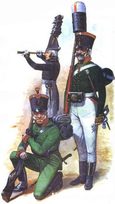 Foot Guard Jagers, 1805 (left to right) - the ordinary life-guard Jager battalion - Officer of the Life-guard Artillery Battalion - Junior non-commissioned officer of the Life-guard Grenadier Lifeguard Regiment,1805.