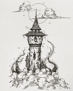 Drawing Ilustration Witch 37 Ideas For 2019 Pencil Art Drawings, Art Drawings Sketches, Fantasy Drawings, Ink Illustrations, Illustration Art, Witch Drawing, House Drawing, Castle Drawing, Drawing Drawing