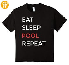 Eat Sleep Pool Repeat Billiards Pool Player Shirt Kinder, Größe 152 Schwarz (*Partner-Link)