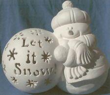 """Let It Snow"" Snowman with Snowball Ceramic Bisque Christmas U Paint Winter Christmas Art Projects, Christmas Deco, Christmas Crafts, Merry Christmas, Christmas Ornaments, Ceramic Painting, Painted Ceramics, Paint Your Own Pottery, Ceramic Bisque"
