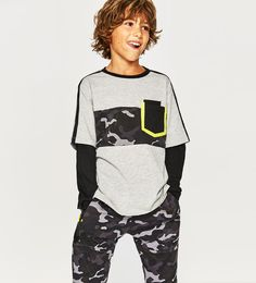 Image 1 of SPORTY T-SHIRT WITH DOUBLE-LAYER SLEEVES from Zara