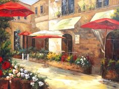 Painted with a mixture of brushwork and palette knife, this painting depicts the setup of a small European cafe/hotel. Rome? Paris? Perhaps Lisbon in Portugal. Simple and everyday, yet stunning.