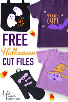 Download these free Halloween cut files that include commercial rights! These files will download in SVG and Silhoeutte Studio files! Use with heat transfer vinyl or adhesive vinyl for a super cute design!