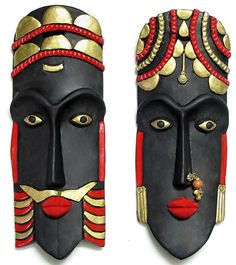 King and Queen Mask - Wall Hanging(Bottle Painting Indian)Masks - Shop Online: Kathakali Masks, Tribal Masks and more, made in terracotta, papier mache, resin and metal Mask Painting, Bottle Painting, Bottle Art, Clay Wall Art, Clay Art, Paper Clay, Diy Arts And Crafts, Clay Crafts, African Art Projects