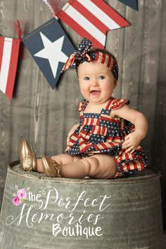 Girl Romper Baby Romper 4th of July 4th of July Dress by ThePMB