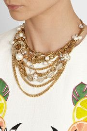 Lulu FrostBord La Mer gold-plated, crystal and freshwater pearl necklace