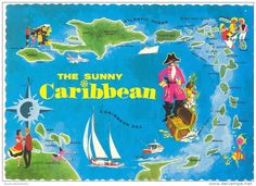 VINTAGE CARIBBEAN  POSTCARD - THE SUNNY CARIBBEAN - MAP OF ISLANDS
