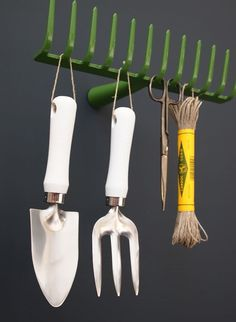 Cute idea to re-purpose an old rake into a cool hook for the garage.