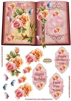Flowers Butterflies Decoupage Card Front on Craftsuprint - Add To Basket!