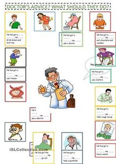 Doctor's Advice What Should they do? With an answer key worksheet - Free ESL printable worksheets made by teachers Singing Exercises, Doctor Advice, Chinese Words, Visual Schedules, Visual Aids, Teaching Jobs, Teaching Ideas, Learn Chinese, Social Stories