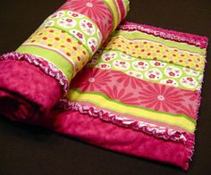Striped rag quilt.... love the colors for a little girls room!