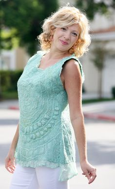This is one of a kind handmade Nuno felted very pretty light teal color tunic. Made with super fine merino wool (very soft, not itchy at all), natural