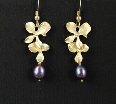 Bridesmaid Earrings Gold Orchid and Pearl Earrings by JamJewels1, $32.00