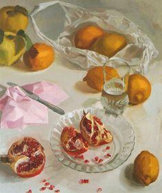 """""""Bolsa de limones y plato con granadas"""". Óleo sobre tabla. Salvador Caro"""