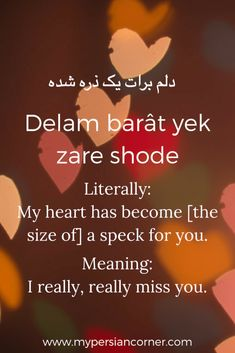 delam barat yek zare shodeh- These beautiful Persian phrases related to the heart will melt yours and prove what a wonderfully poetic language Persian is! Teaching English Grammar, English Vocabulary Words, Learn English Words, Dari Language, Learn Farsi, Learn Persian, Persian Language, Instagram Words, Persian Poetry