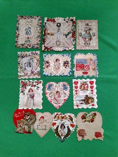 Lot of 13 Vintage Antique Valentines Cards Early 1900's