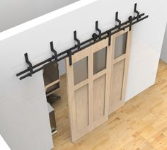 bypass sliding barn wood door hardware black rustick barn sliding track kit in Home & Garden, Home Improvement, Building & Hardware | eBay