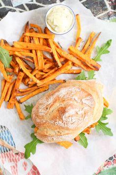 Süsskartoffel Pommes Sandwich Chip Butty Sweet potato recipe Rezept Stulle der Woche Zuckerzimtundliebe Fussballsnack WM Snack