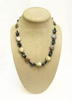 Black freshwater pearl necklace with crystal on by CuteActually, $20.00