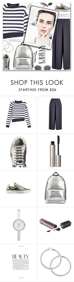 """""""Striped Blouse & Wide Leg Pants"""" by marialibra ❤ liked on Polyvore featuring Ilia, Jil Sander, 3.1 Phillip Lim, DKNY and Le Specs Luxe"""