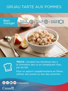 Essayez cette savoureuse recette de gruau tarte aux pommes pour un petit déjeuner chaud en famille :    http://www.healthycanadians.gc.ca/eating-nutrition/healthy-eating-saine-alimentation/recipes-recettes/apple-pie-oatmeal-gruau-tarte-pommes-fra.php?utm_source=pinterest_hcdns&utm_medium=social_fr&utm_content=nov9_applepie&utm_campaign=social_media_14