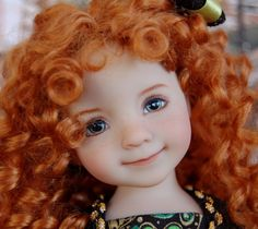 """Dianna Effner's Little Darling #3 """"Merida"""" Painted by Joyce Mathews  . Ends 3/8/15. SOLD for $1,275.00"""