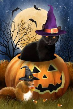 """Sunsout's """"Witching Time"""", a 1000 piece jigsaw puzzle, by Tom Wood; a black cat in a purple hat and pumpkin squirrel in a black hat celebrate Halloween! Image Halloween, Theme Halloween, Halloween Painting, Halloween Pictures, Halloween Boo, Halloween Cards, Holidays Halloween, Happy Halloween, Halloween Clipart"""