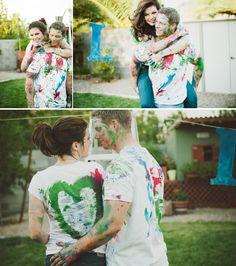 Inspiração para ensaio + Save the date - http://www.blogdocasamento.com.br/cerimonia-festa-casamento/ensaio/ensaio-sujo-de-tinta-httpwww-loveandlavender-com201212paint-fight-engagement-session/
