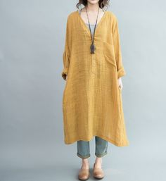 Loose Fitting Long dress Women oversize Loose dress in Yellow/ Blue by MaLieb on Etsy https://www.etsy.com/listing/92321304/loose-fitting-long-dress-women-oversize