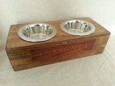 Wine Crate Pet Bowl Authentic Insignia by alpinewinedesign on Etsy, $100.00
