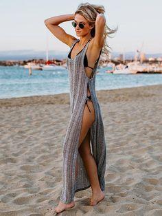 swim suit coverups Spaghetti-neck Hollow Swimwear Cover-up bonboho Swimwear Cover Ups, Cute Swimsuit Cover Ups, Swim Cover Ups, Bathing Suit Cover Up, Bikini Cover Up, Bathing Suits, Beachwear Fashion, Beachwear For Women, Beach Fashion