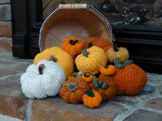 Crocheted Pumpkin Pincushion by Armina Parnagian on Ravelry.  This pattern is available as a free Ravelry download  Please note: this particular pic is © bayareabarb
