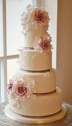 Gorgeous Lace Wedding Cake ~ Cake Design: Cotton and Crumbs