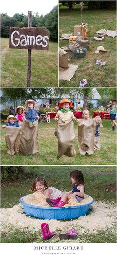 "Children's Country Hoedown Themed Birthday Party :: Wooden sign for the ""Games"" area with bobbing for apples, races in burlap sacks, croquet, and prizes to be found in a tub of soft wood chips :: Michelle Girard Photography"