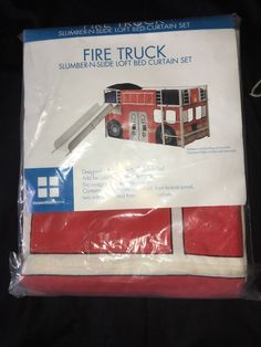Essential Home Fire Truck Slumber and Slide Loft Bed Curtain Set Curtain Only | eBay
