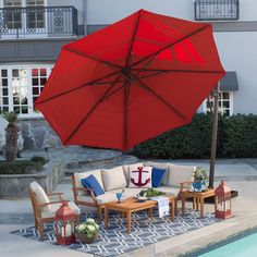 Rotating 13 Ft Offset Patio Umbrella With Tilt Red Canopy And Base