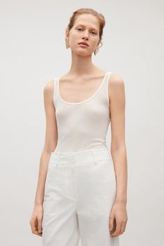 COS image 7 of Sheer silk vest top in White