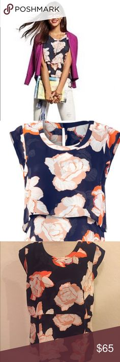 Cabi 5030 Spring Top Small Floral Cabi 5030 Spring 2016 Blossom Top Small Floral Navy Blue Orange Shirt CAbi Tops Blouses