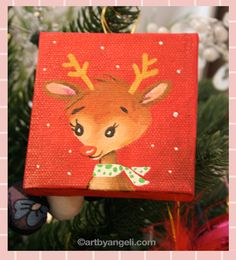 Mini canvas - Christmas ornament by Angeli Verastegui- Zankel @Artbyangeli.com