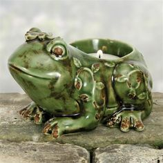 Frog Tealight Distressed Green