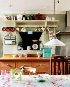 French Farmhouse Kitchen Style | Shelf liners, Cottage ideas and Shelves
