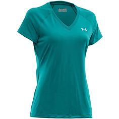 UNDER ARMOUR Ladies' Tech Short-Sleeve V-Neck Top ($23) ❤ liked on Polyvore featuring activewear, activewear tops, cerulean blue, under armour sportswear, athletic sportswear and under armour