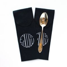 """Anti Tarnish Silverware Flatware Storage 3 1/2"""" x 10"""" Monogrammed for Sterling Silver Flatware - Serving Spoon - Art Deco Collection.  Find this and other premium anti tarnish bags and flatware rolls at SherwoodSilverBags.com or by clicking through to the Etsy shop.  5"""