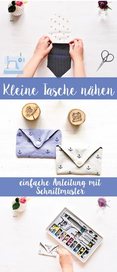 Kleine Tasche Nähen – Anleitung von A great guide to sew even as a beginner small bags. With pattern and step-by-step explanation. Crochet Blanket Patterns, Knitting Patterns, Sewing Patterns, Sewing Hacks, Sewing Tutorials, Sewing Tips, Sewing Projects For Kids, Patchwork Bags, Knitting For Beginners