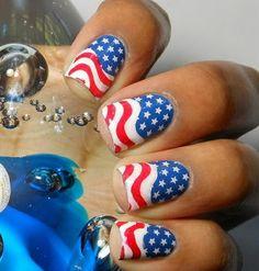American Flag Nails fashion nails nail polish patriotic red white blue 4th of july nail art manicure mani